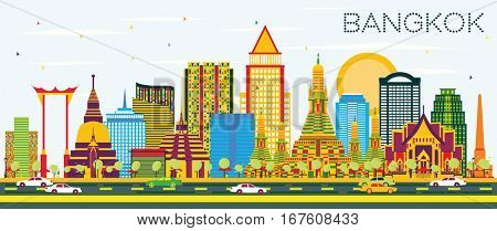 Bangkok Skyline with Color Landmarks and Blue Sky. Business Travel and Tourism Concept. Image for Presentation Banner Placard and Web Site.