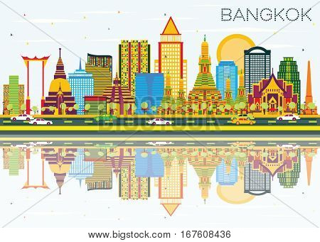 Bangkok Skyline with Color Landmarks, Blue Sky and Reflections. Business Travel and Tourism Concept. Image for Presentation Banner Placard and Web Site.