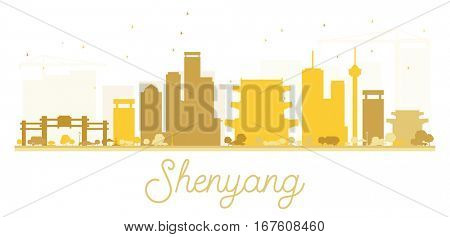 Shenyang City skyline golden silhouette. Simple flat concept for tourism presentation, banner, placard or web site. Business travel concept. Cityscape with landmarks