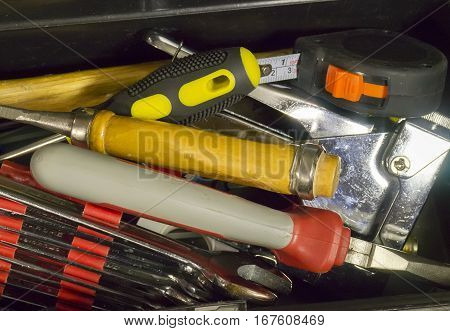 The big toolbox with the household closeup