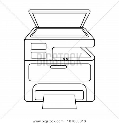 Multi-function printer in outline style isolated on white background. Typography symbol vector illustration. - stock vector