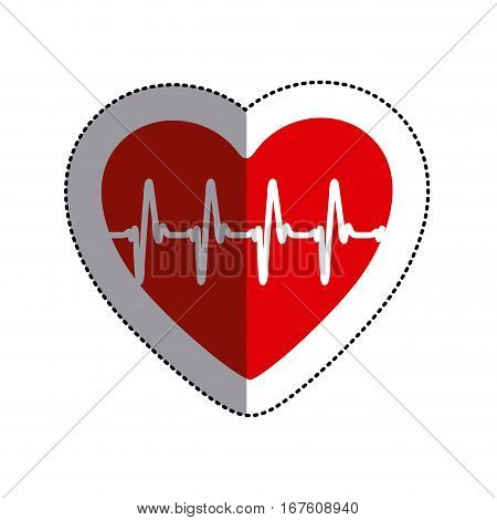 color sticker heart with line of vital sign and middle shadow vector illustration