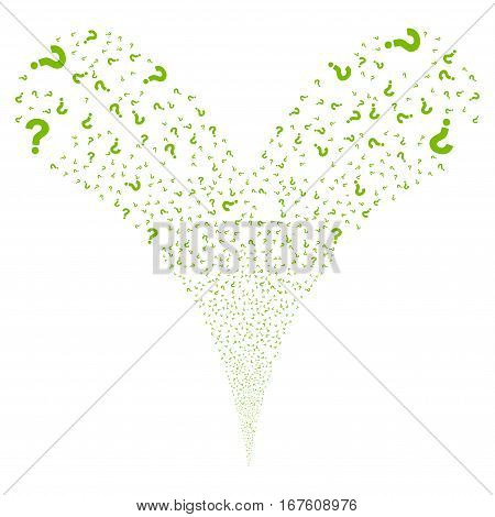 Question fireworks stream. Vector illustration style is flat eco green iconic symbols on a white background. Object double fountain constructed from random pictographs.