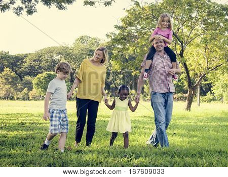 Family Walking Field Nature Togetherness