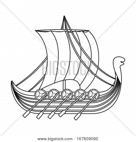 Viking s ship icon in outline design isolated on white background. Vikings symbol stock vector illustration. - stock vector