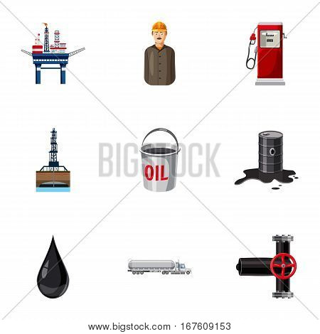 Oil production icons set. Cartoon illustration of 9 oil production vector icons for web