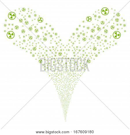 Radioactive fireworks stream. Vector illustration style is flat eco green iconic symbols on a white background. Object double fountain made from random pictograms.