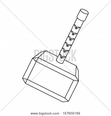 Viking battle hammer icon in outline design isolated on white background. Vikings symbol stock vector illustration. - stock vector