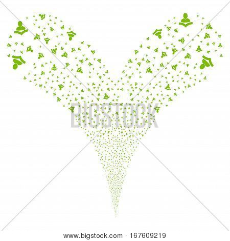 Reader fireworks stream. Vector illustration style is flat eco green iconic symbols on a white background. Object double fountain done from random pictographs.