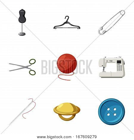 Sewing supplies icons set. Cartoon illustration of 9 sewing supplies vector icons for web