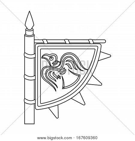 Viking s flag icon in outline design isolated on white background. Vikings symbol stock vector illustration. - stock vector