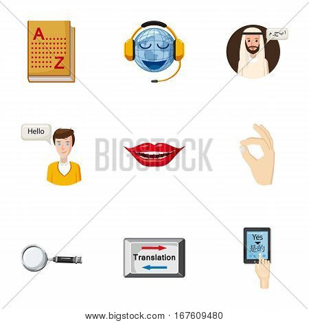 Translation of language icons set. Cartoon illustration of 9 translation of language vector icons for web