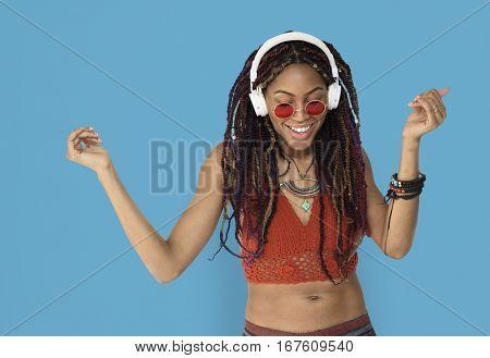 African Descent Female Headphones Smiling