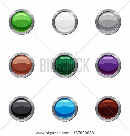 Buttons for clicks in internet icons set. Cartoon illustration of 9 buttons for clicks in internet vector icons for web