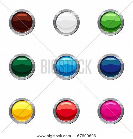 Kinds of online buttons icons set. Cartoon illustration of 9 kinds of online buttons vector icons for web