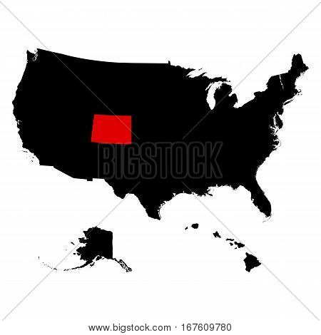 U.S. state of Colorado on the map vector