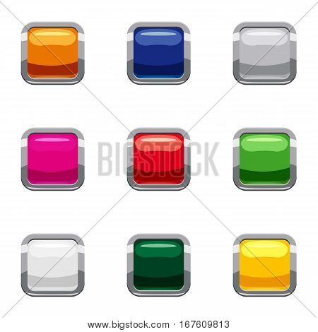 Select action with button icons set. Cartoon illustration of 9 select action with button vector icons for web