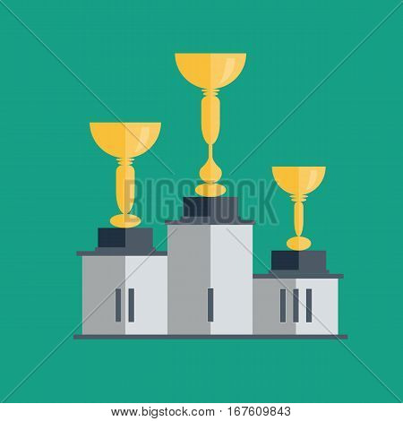Golden cup vector illustration on green background, gold cup with pedestal, shiny yellow cup golden flat cartoon design