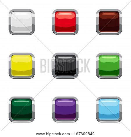 Selection buttons icons set. Cartoon illustration of 9 selection buttons vector icons for web