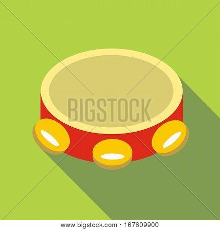 Tambourine icon. Flat illustration of tambourine vector icon for web design