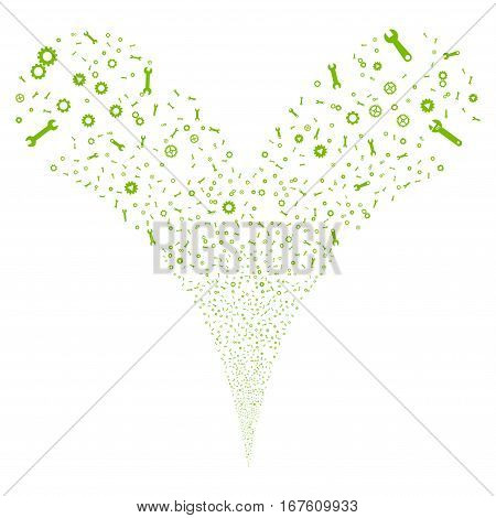 Setup Tools fireworks stream. Vector illustration style is flat eco green iconic symbols on a white background. Object double fountain done from random symbols.