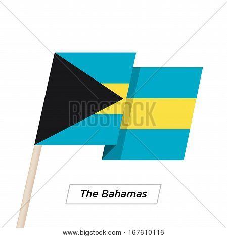 The Bahamas Ribbon Waving Flag Isolated on White. Vector Illustration. The Bahamas Flag with Sharp Corners