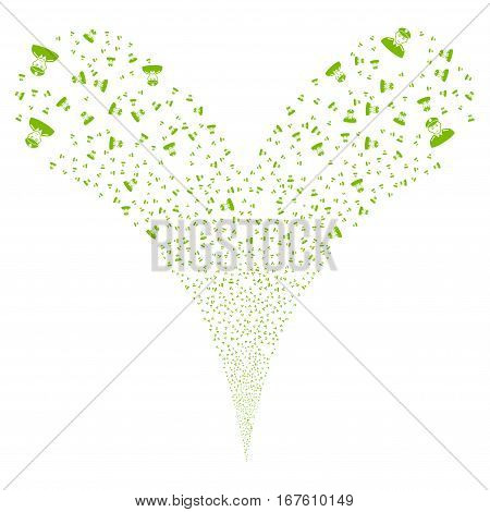 Soldier fireworks stream. Vector illustration style is flat eco green iconic symbols on a white background. Object double fountain made from random design elements.