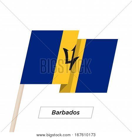 Barbados Ribbon Waving Flag Isolated on White. Vector Illustration. Barbados Flag with Sharp Corners