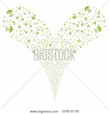 Space Antenna fireworks stream. Vector illustration style is flat eco green iconic symbols on a white background. Object double fountain made from random pictograms.