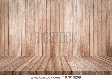 Brown wooden shelf on wood background texture. 3D illustration