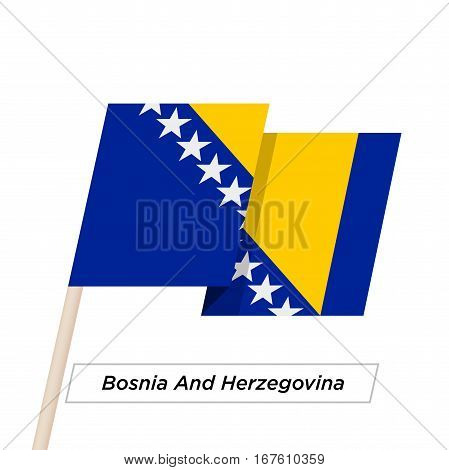 Bosnia and Herzegovina Ribbon Waving Flag Isolated on White. Vector Illustration. Bosnia and Herzegovina Flag with Sharp Corners