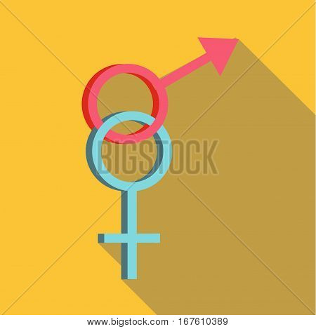 Sign man and woman icon. Flat illustration of sign man and woman vector icon for web design