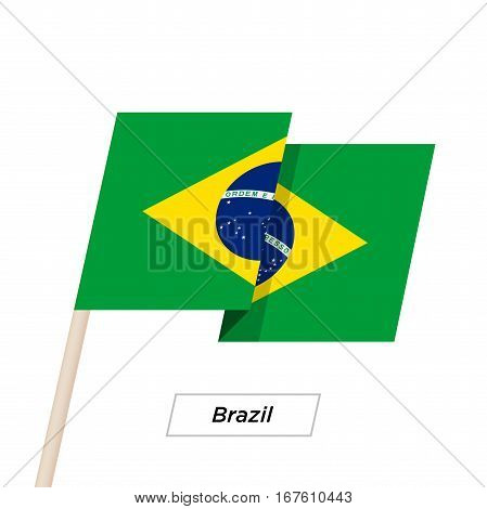 Brazil Ribbon Waving Flag Isolated on White. Vector Illustration. Brazil Flag with Sharp Corners