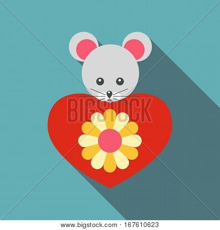 Mouse toy icon. Flat illustration of mouse toy vector icon for web design