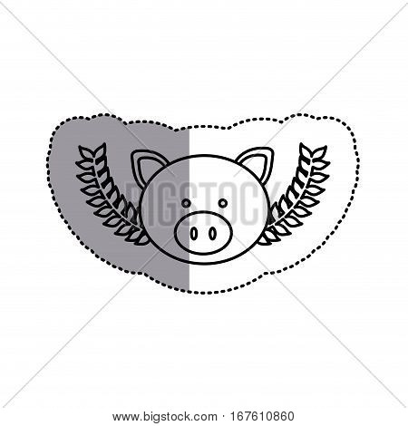 monochrome contour sticker with pig head and olive branches and middle shadow vector illustration
