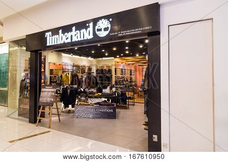 Kuala Lumpur, Malaysia -  January 29, 2017: Timberland Llc  Retailer Of Outdoors Wear With Store In
