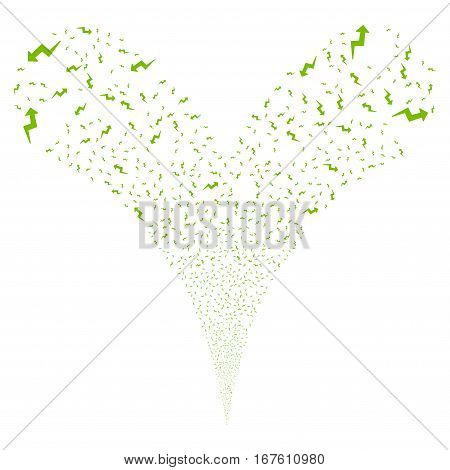 Trend fireworks stream. Vector illustration style is flat eco green iconic symbols on a white background. Object double fountain made from random icons.