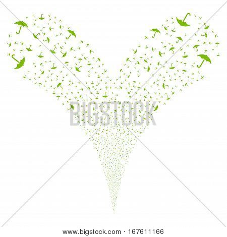 Umbrella fireworks stream. Vector illustration style is flat eco green iconic symbols on a white background. Object double fountain constructed from random pictograms.