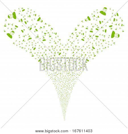 User fireworks stream. Vector illustration style is flat eco green iconic symbols on a white background. Object double fountain made from random pictographs.
