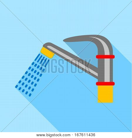 Water faucet icon. Flat illustration of water faucet vector icon for web design