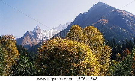 Autumn landscape of mountains Dombay,Western Caucasus, Russia.