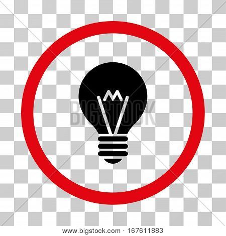 Hint Bulb rounded icon. Vector illustration style is flat iconic bicolor symbol inside a circle intensive red and black colors transparent background. Designed for web and software interfaces.