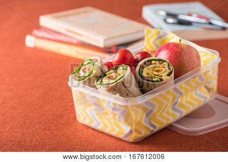 Ham And Cheese Wraps In Lunch Box