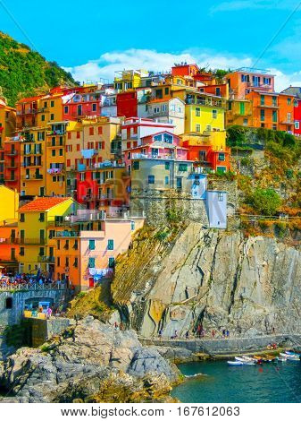 Colorful Traditional Houses On A Rock Over Mediterranean Sea, Manarola, Cinque Terre, Italy