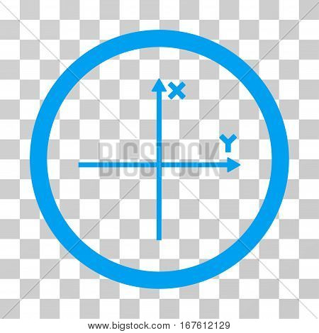 Coordinate Axis rounded icon. Vector illustration style is flat iconic bicolor symbol inside a circle blue and gray colors transparent background. Designed for web and software interfaces.