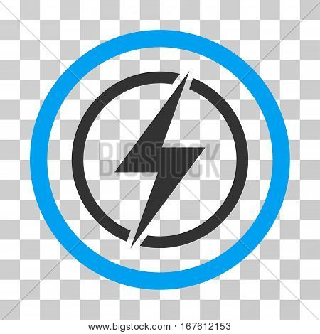 Electrical Hazard rounded icon. Vector illustration style is flat iconic bicolor symbol inside a circle blue and gray colors transparent background. Designed for web and software interfaces.