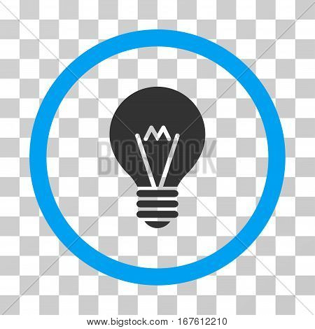 Hint Bulb rounded icon. Vector illustration style is flat iconic bicolor symbol inside a circle blue and gray colors transparent background. Designed for web and software interfaces.