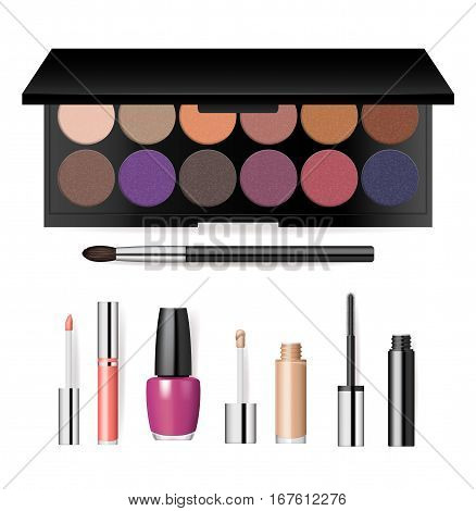 Realistic makeup cosmetics set isolated on white background vector illustration. Brush, lipstick, nail polish, mascara, eye shadow, foundation. Decorative cosmetics products, beauty fashion makeup. Cosmetics product concept design