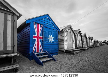 Australia Flag On A Beach Hut. A Bathing Beach Box Painted With Australia Flag.