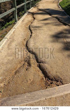 Erosion on public trail after heavy rain
